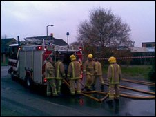 Firefighters at the scene of the fire in Worthing