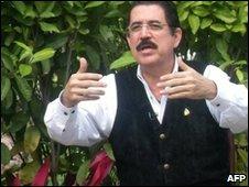 Honduran President Manuel Zelaya speaking from inside the Brazlian embassy on 29 November