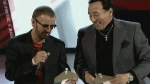 Smokey Robinson and Ringo Starr read out the nominations for Album of the Year