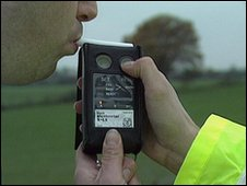 A man being breathalysed