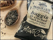 Packet of Mackies haggis crisps