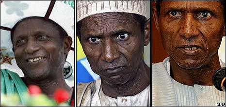 Nigerian President Umara Yar'Adua (L-R): in 2007, early 2009, late 2009