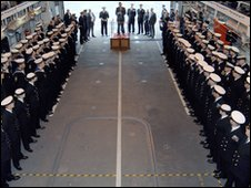 The ceremony on board HMS Dauntless