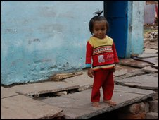 Child living in the slum outside the Union Carbide factory in Bhopal