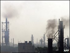 Smoke rises from an Indian iron factory (file)