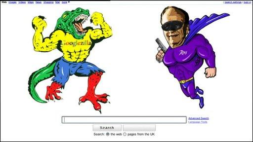 A cartoon graphic of 'Super Murdoch' in battle with 'Googlezilla'