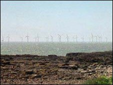 Artist's impression of the turbines at Scarweather Sands