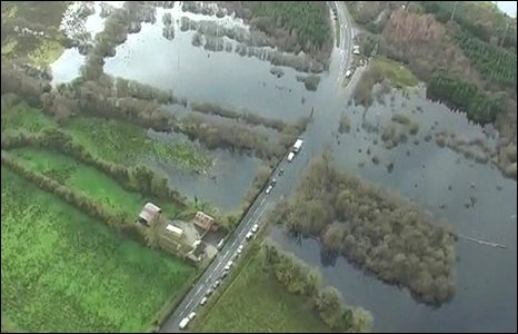 Flooded road in County Fermanagh