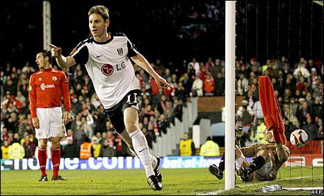 Fulham midfielder Zoltan Gera celebrates