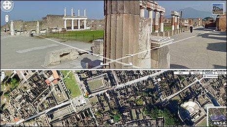 Google Street View image of Pompeii (Ansa)