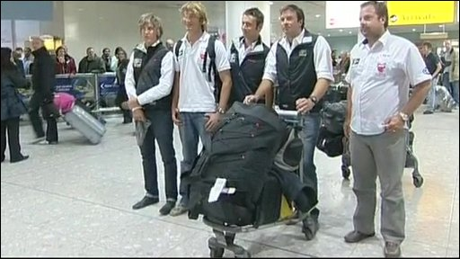 Yachtsmen arrive at Heathrow