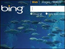 Screengrab of Bing homepage, Microsoft