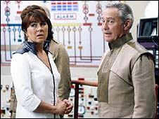 Richard Todd with Nerys Hughes in Doctor Who