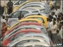 Tata Nano and crowds