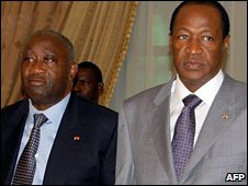 Presidents President Laurent Gbagbo (l) of Ivory Coast and Blaise Compaore of Burkina faso (r)