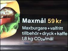 CO2 label on burger menu