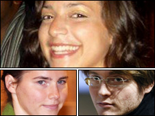 Meredith Kercher, Amanda Knox and  Raffaele Sollecito (Copyright: PA, Getty and AP)