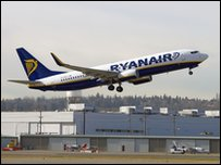 Ryanair plane taking off