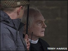 Derek Jacobi filming at Ely Cathedral
