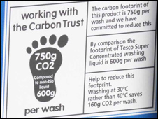 Carbon label on detergent bottle in the UK
