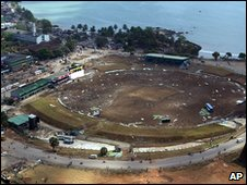 Destroyed cricket stadium in Galle, Sri Lanka (29 Dec 2009)