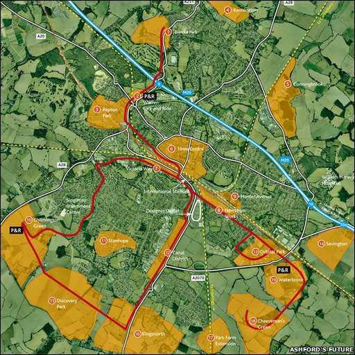 A map showing areas of Ashford planned for development
