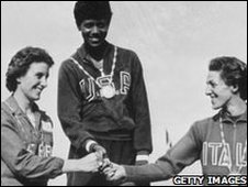 Dorothy with Wilma Rudolph (USA) and G Leone (Italy) at the Rome Olympics in 1960