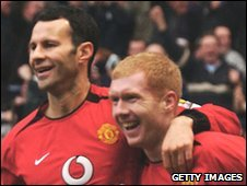Manchester United's Ryan Giggs and Paul Scholes