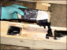Heroin in pallets
