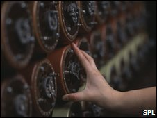 Dials on a relica Bombe decryption machine, used during the war to decode German messages