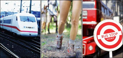 Generic images of a train, walking and bus