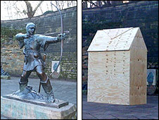 Robin Hood statue boarded up