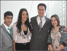 Young reporters Aakash and Annie with Secretary of State for Energy and Climate Change Ed Miliband and audience member Rose at a young person's event in central London