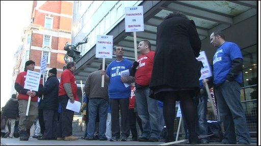 Twinings workers protest in London