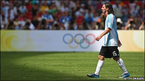 Argentina's Lionel Messi at the Beijing 2008 Olympics