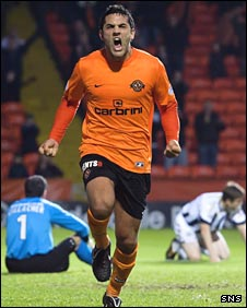 Damian Casalinuovo celebrates against St Mirren