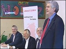 Carwyn Jones and Peter Hain enjoy a joke by Rhodri Morgan [R]