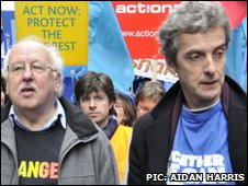 Weather forecaster Michael Fish and Thick of It star Peter Capaldi took part in the march in London
