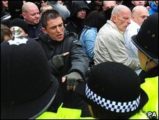 Protesters and police in Nottingham