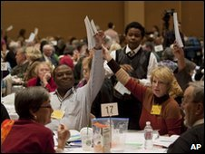 Los Angeles Diocese delegates vote on Friday for the first assistant bishop, Diane M Jardine Bruce