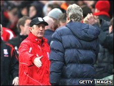 Stoke manager Tony Pulis and Arsenal boss Arsene Wenger