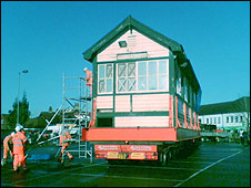 Signal box on low loader