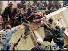 Scene from the aftermath of the Nairobi embassy bombing, 1998
