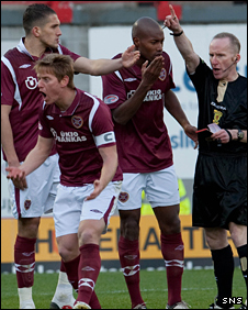 Hearts captain Michael Stewart receives his marching orders