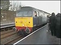Train arrives at Workington North