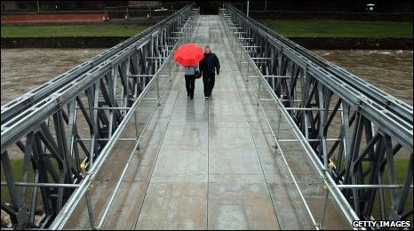 Workington residents crossing the new bridge