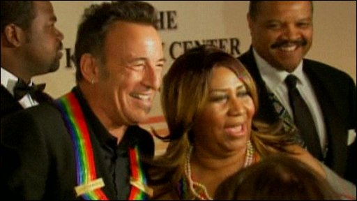Bruce Springsteen and Aretha Franklin at the Kennedy Center honours 