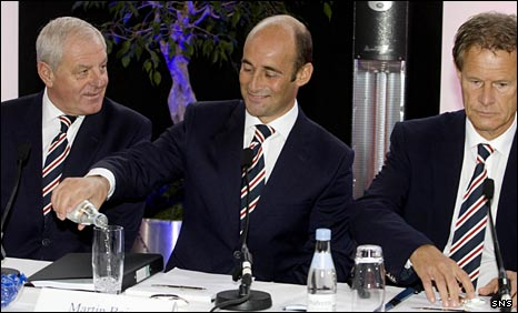 Walter Smith, Martin Bain and Alastair Johnston at Ibrox