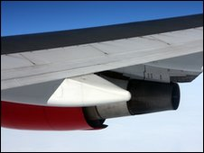 A wing of a Virgin Atlantic plane