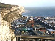 Dover's white cliffs and eastern docks